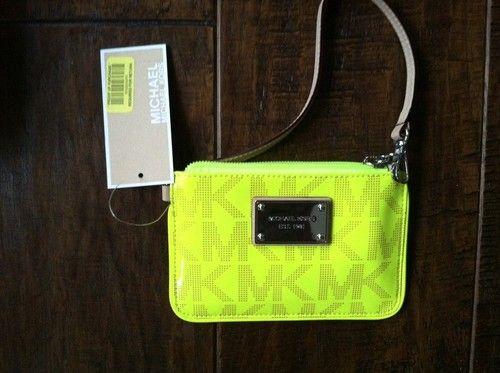 Michael Kors Patent Neon Yellow Green Wristlet | eBay $35