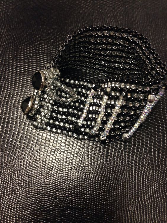Black and silver beaded cuff