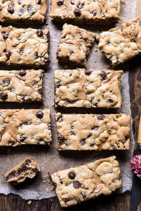 The Best Chocolate Chip Peanut Butter Swirled Cookie Bars