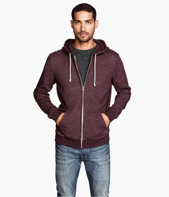 Burgundy hoodie in sweatshirt fabric. #HMMEN | H&M FOR MEN ...