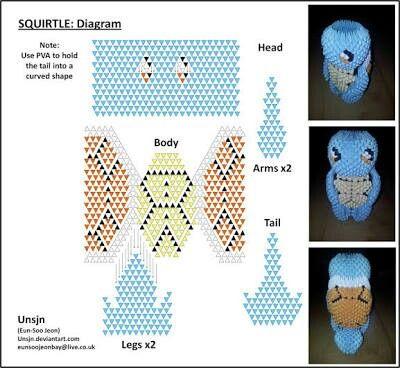 Squirtle em diagrama de Origami 3d