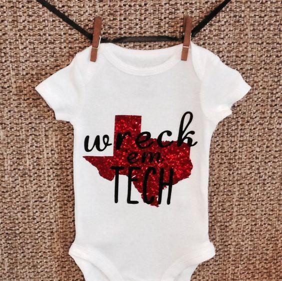 """Texas Tech """"Wreck Em Tech"""" Onesie"""