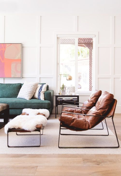 White Wainscoting Wall Detail Abstract Art Over The Sofa Green Sofa Leather Accent Cha Accent Chairs For Living Room White Wainscoting Living Room Chairs