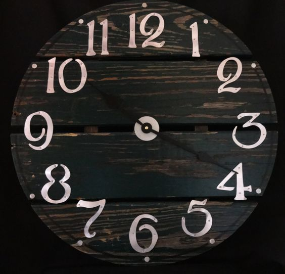 22 Inch Dark Green RUSTIC RECYCLED Wall CLOCK from a Discarded Pier with Hand Cut Metal Numbers by ClocksByHomestead on Etsy https://www.etsy.com/listing/210583319/22-inch-dark-green-rustic-recycled-wall