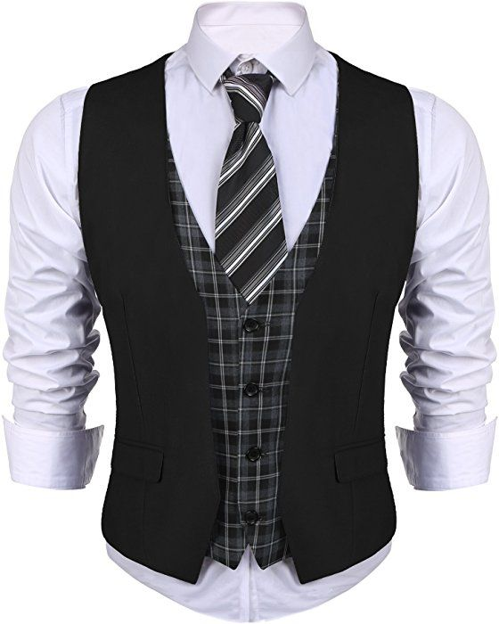 COOFANDY Mens Dress Suit Layered Vest V Neck Plaid Patchwork Wedding Waistcoat