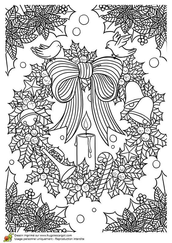 Coloriages vacances de noel decoration couronne de noel for Decoration noel dessin