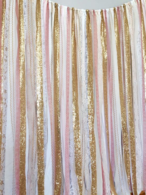 Pink Amp Gold Sparkle Sequin Fabric Backdrop With Lace