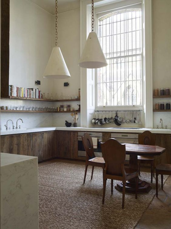 A monastic inspired kitchen in London. Rose Uniacke's Classic Designed Minimal Home in London.