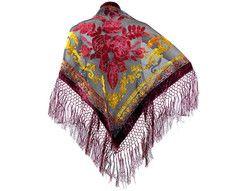 Triangle Fashion Burn Out Velvet Shawl Floral Fringes Crochet Design
