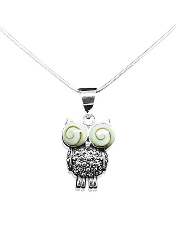 Janelle Owl Necklace with Crystals