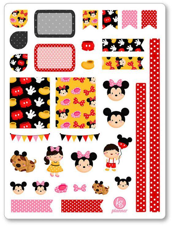 Una de 6 x 8 hoja de Mickey/Minnie decoración kit/semanal propagación planificador pegatinas cortados y listos para su uso en su planificador de la