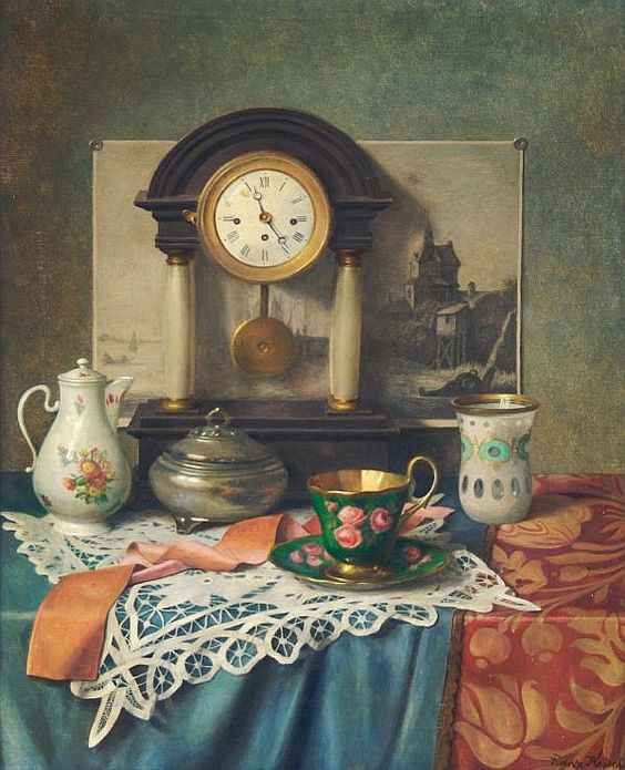 Franz Krischke  (1885-1960) — Still Life with   Clock   (600x740)