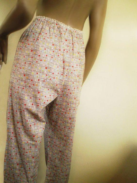 Retro Pajama Pants, Gray Abstract Print Cotton Capri 1950s Style High Waist Lace Trim. Etsy.