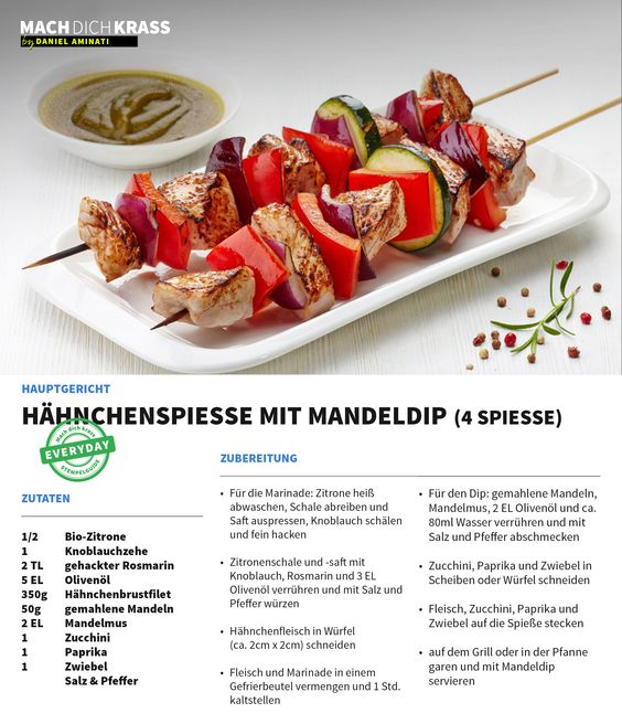 Hähnchenspiesse mit Mandeldip (4 Spiesse)