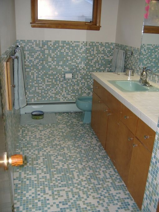 Turquoise mid century modern and modern bathrooms on for Bathroom tile inspiration