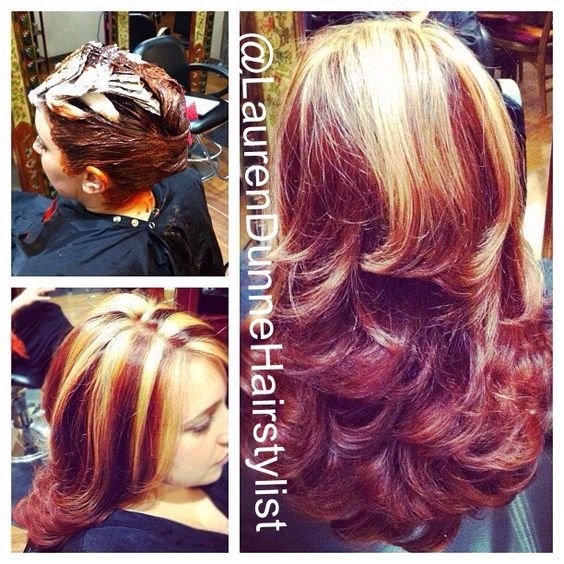 Chunky Blonde Highlights Bright Red Hair And Staten