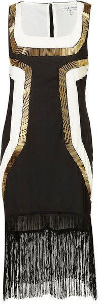 TOPSHOP ENGLAND Metallic Fringe Panel Dress By Rare