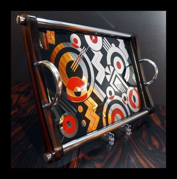 Art deco tray with inlay geometric figures and Chrome holder & grips with…