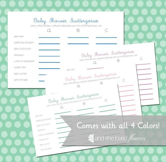 baby shower scattergories customizable diy printable game cards