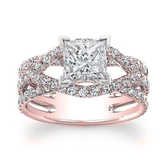 Princess Cut Diamond Halo Design Engagement Ring 14k Rose Gold 1 50 carat