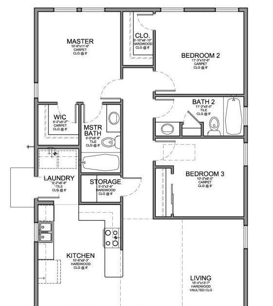 Floor Plan For A Small House 1 150 Sf With 3 Bedrooms And 2 Black And White Architectural Plan Of A House Lay House Plans Drawing House Plans Free House Plans