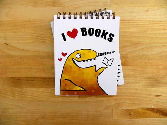 I heart Books -- 4x5 notepad. $5.00, via Etsy.