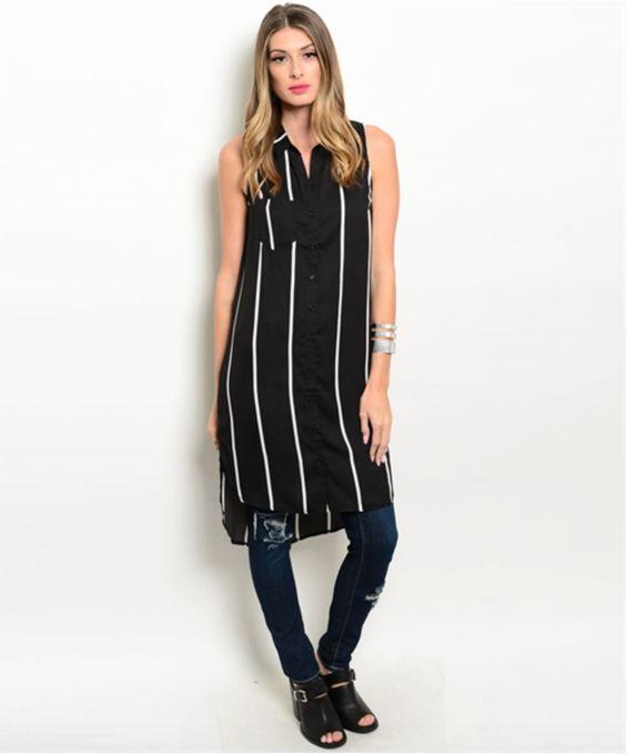 Sleeveless Chic Striped Dress (Black)