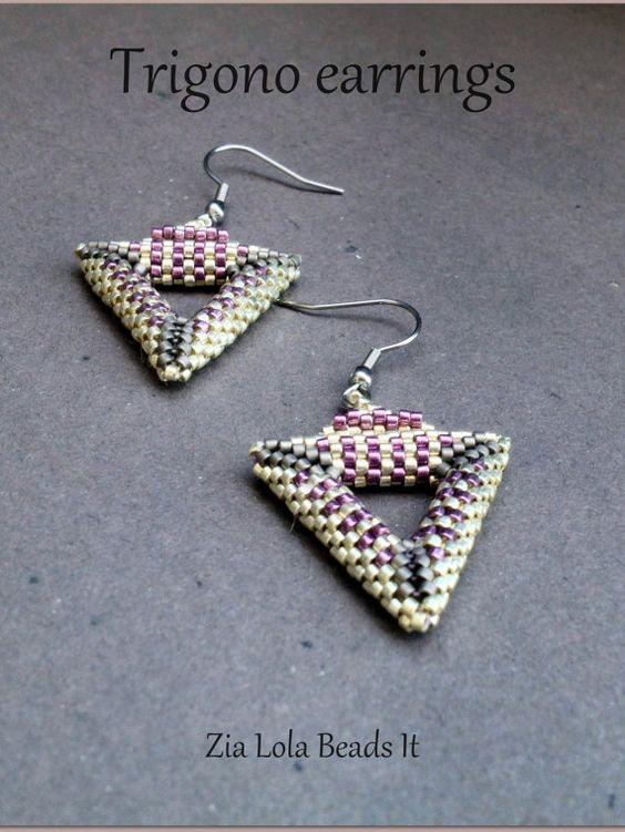 instant trigono beaded earrings tutorial