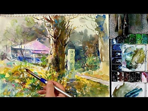 Eng Sub How To Paint Japanese Temple Landscape Watercolor