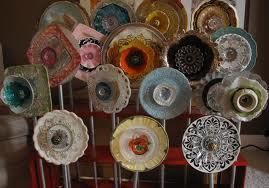 Yard decorations made from old glass plates.: Garden Ideas, Garden Craft, Gardening Ideas