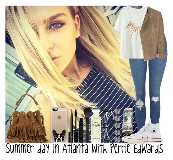 """""""Summer day in Atlanta with Perrie Edwards"""" by irish26-1 ❤ liked on Polyvore featuring NARS Cosmetics, INDIE HAIR, Chanel, Giorgio Armani, Topshop, Casetify, Converse, Alexis Bittar, McQ by Alexander McQueen and Yves Saint Laurent"""