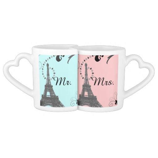 modern eiffel tower vintage paris wedding lovers mugs