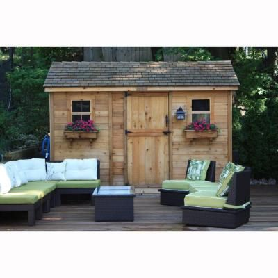Outdoor Living Today Cabana 8 ft. x 12 ft. Western Red Cedar Garden Shed-CB128 - The Home Depot