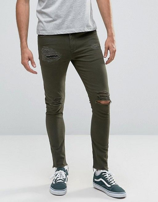 ASOS Super Skinny 5 Pocket Pants In Dark Green With Rips And Distressing