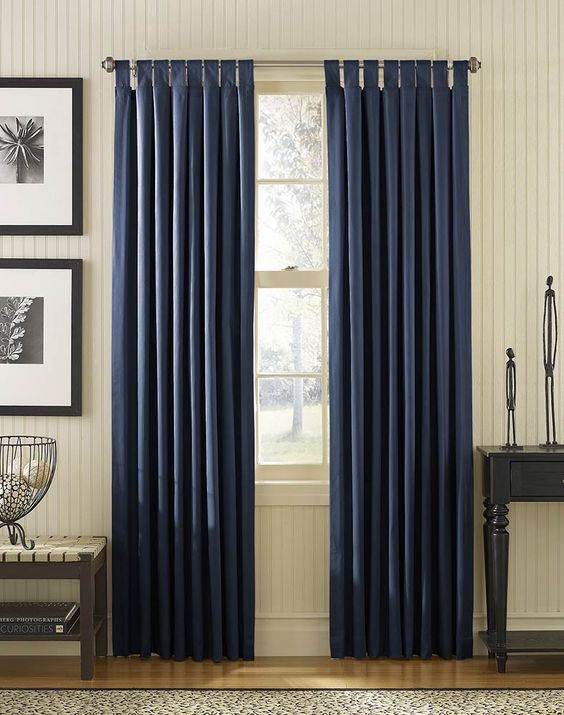Navy curtains maybe navy and yellow as accent colors in for Curtain color ideas living room