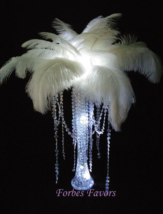 Diy charming ostrich feather centerpiece with crystal
