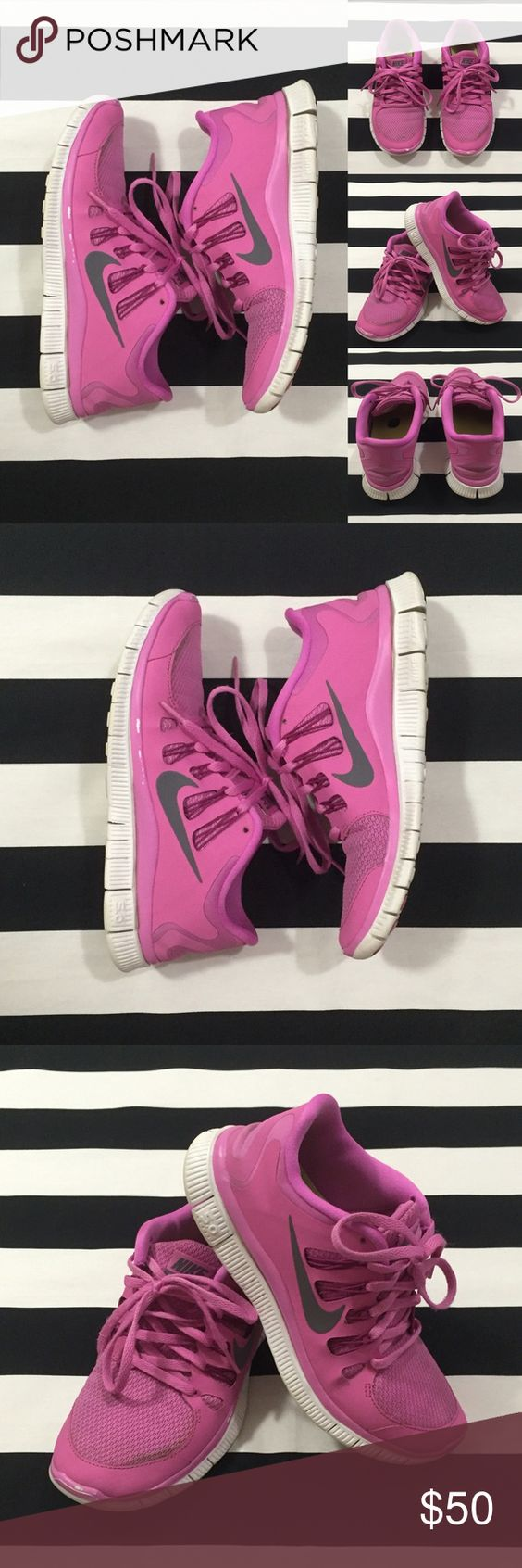 [Nike] free 5.0 women's athletic shoes sz7.5 [Nike] free 5.0 women's athletic shoes sz7.5 •🆕listing •pre-loved/used condition •pink/white with silver swoosh design •shoes have been washed/cleaned •darker areas on pink mesh, did not wash out •some peeling of pink paint and color changes to rubber sides and soles from use •Offers welcomed using the offer feature or bundle for the best discount Nike Shoes Athletic Shoes