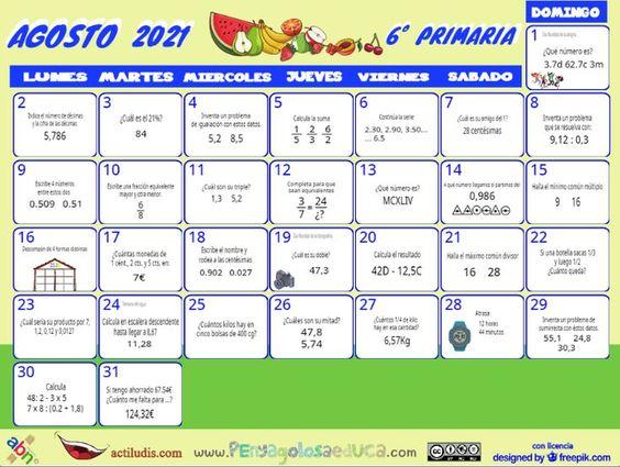 Calendario Sexto ABN – Agosto 2021