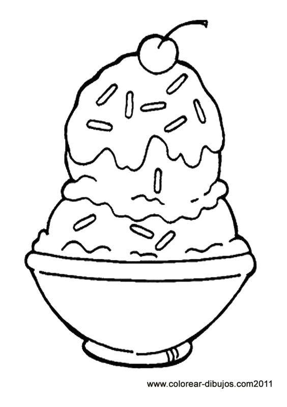 Chocolat And Vanilla Ice Cream Sundae Coloring Picture