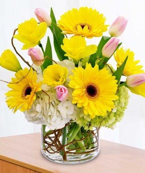 Springtime Surprise Yellow Flower Arrangements Spring Flower Arrangements Fake Flower Arrangements
