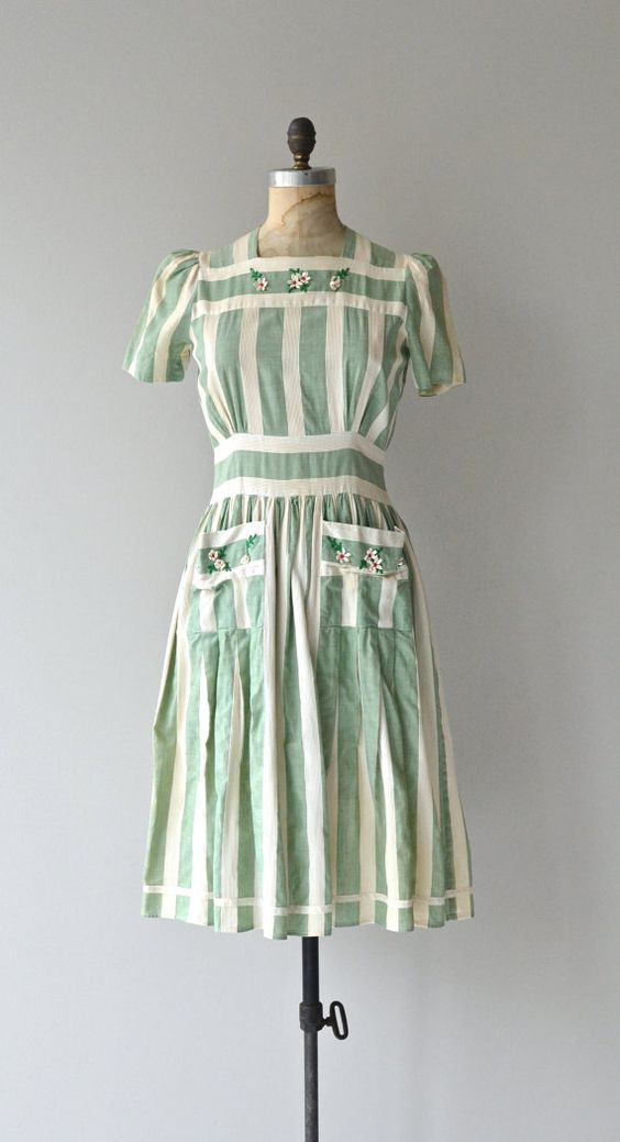 green stripped dress