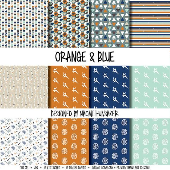Modern Neuroscience Paper Pack | Orange & Blue | Instant Download by handmadephd. Explore more products on http://handmadephd.etsy.com