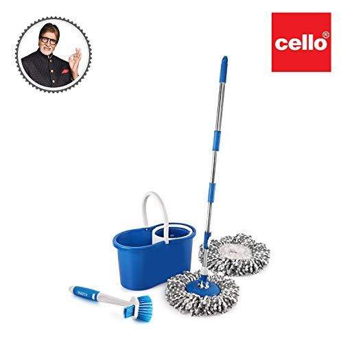 Cello Kleeno Compacto Spin Mop Blue With Dual Action Sink And Dish Brush Free Clean Microfiber Spin Mop Sink