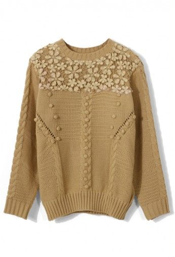 Crochet Floral Light Tan Sweater