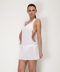 5092 Cover-Up by Zeki Swimwear at Pesca Trend. cover up features adjustable jawstring around the waist for better fit. Also comes with sexy opening at the sides to show off your favorite swimsuit underneath. Cover up available in white. Made from 100% PA pr 100% PES by Zeki Swimwea