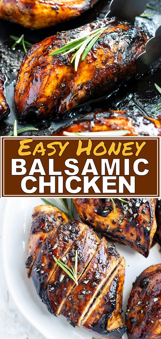 Honey Balsamic Chicken starts with an easy marinade of balsamic vinegar and honey and is then topped with a delightful balsamic glaze. You can cook this balsamic glazed chicken breast recipe in a cast-iron skillet for an easy, elegant, gluten-free, and healthy chicken dinner main dish. #balsamic #chicken #recipe #dinner #maindish