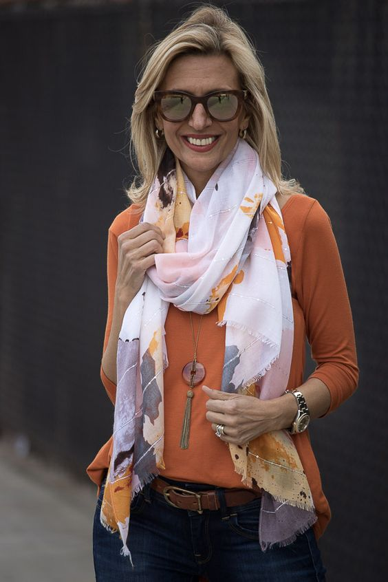 On my blog this week our Tangerine top and White orange and brown abstract print scarf both available in our shop www.jacketsociety.com