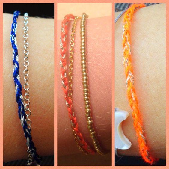 Des tresses ultra fines, colorées avec une touche brillante, soit des petits bracelets parfaits pour l'été. A nouer ou sur fermoir, plus ou moins assorti d'une chaine pour le doubler. A vos souhaits ! Triple 10€ (s'assortit très bien avec les boucles...