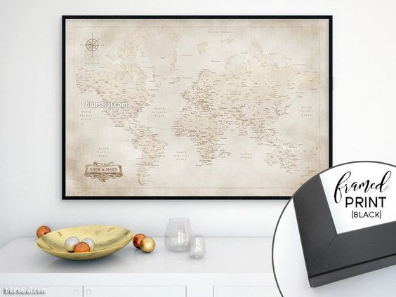 """Custom names - 36x24"""" Framed world map print of a vintage style world map with cities"""