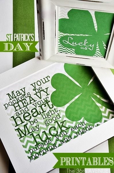 St. Patrick's Day Free Printables... Lucky us!  #St_Patrick's_Day the36thavenue.com